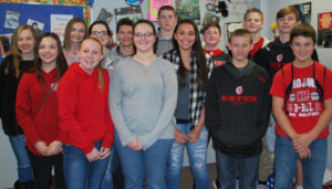 EIGHTH GRADERS WHOSE poetry has been selected for publication include, from left, Shelby Rader, Kirsten Tuttle, Megan King, Jennifer Tabor, Taylor Dunn, Zach Hathaway, Kalyn Venable, Jarrett Buntin, Bianca Worley, Garrett Webster, Ranger Long, Jacob Clayton, Maverik Parker, and Trent Hoover. Not pictured are Kourtney Davis and Kevin Claybrook.